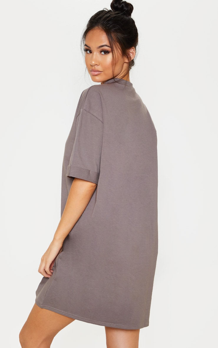 Charcoal Oversized Boyfriend T Shirt Dress 2