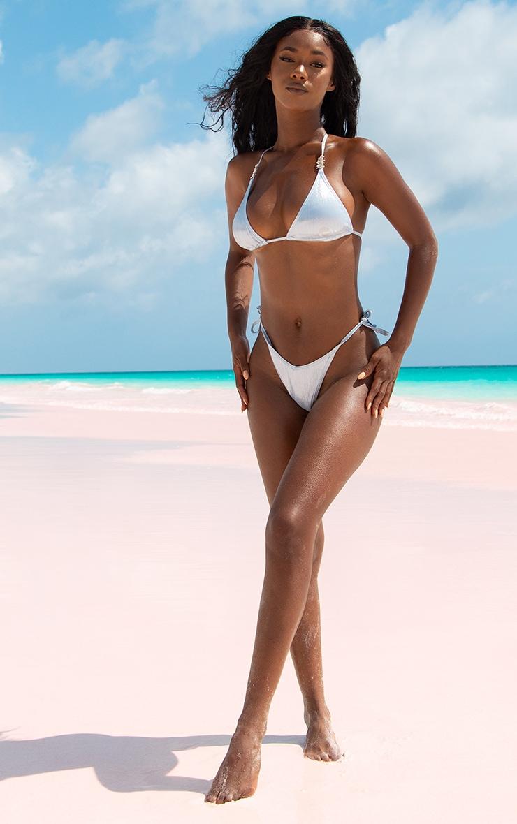 Baby Blue Shiny Textured Diamante Triangle Bikini Top 5