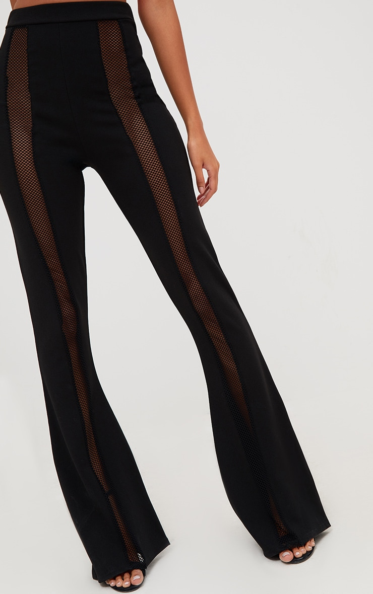 Black Fishnet Insert Flared Trousers 5