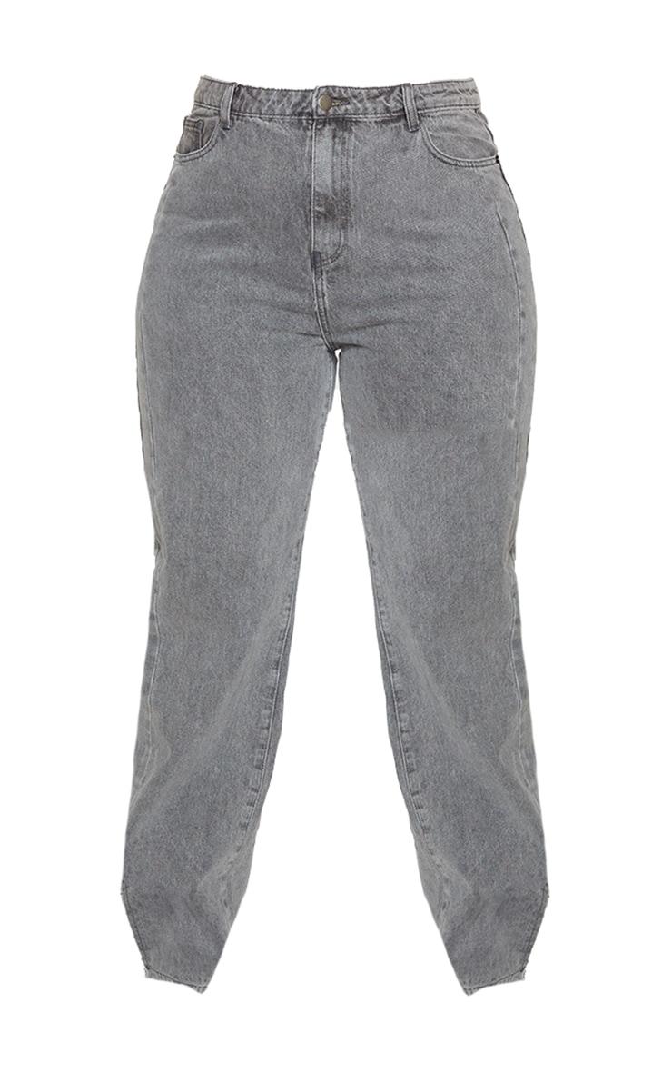 Plus Grey Washed Double Side Seam Split Hem Jeans 5