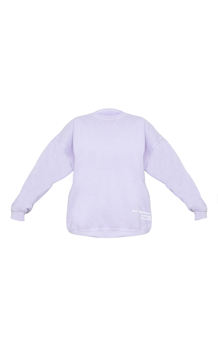 Lilac Los Angeles Small Print Slogan Washed Sweatshirt 5