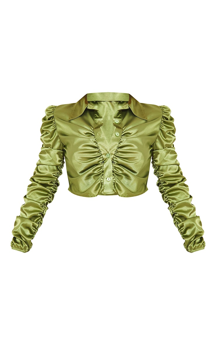 Olive Satin Ruched Cropped Shirt 5