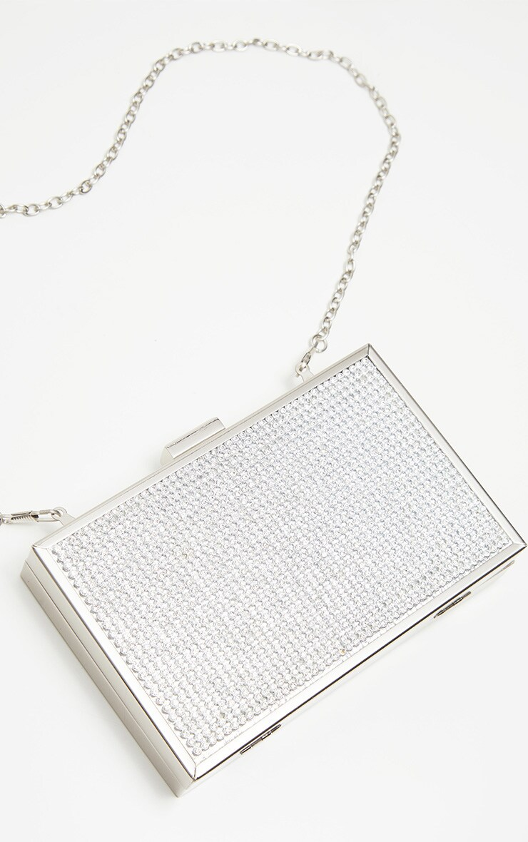 Silver Diamante Box Clutch 3