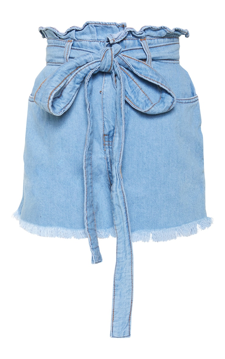 Petite Light Wash Paper Bag Tie Waist Denim Shorts 3