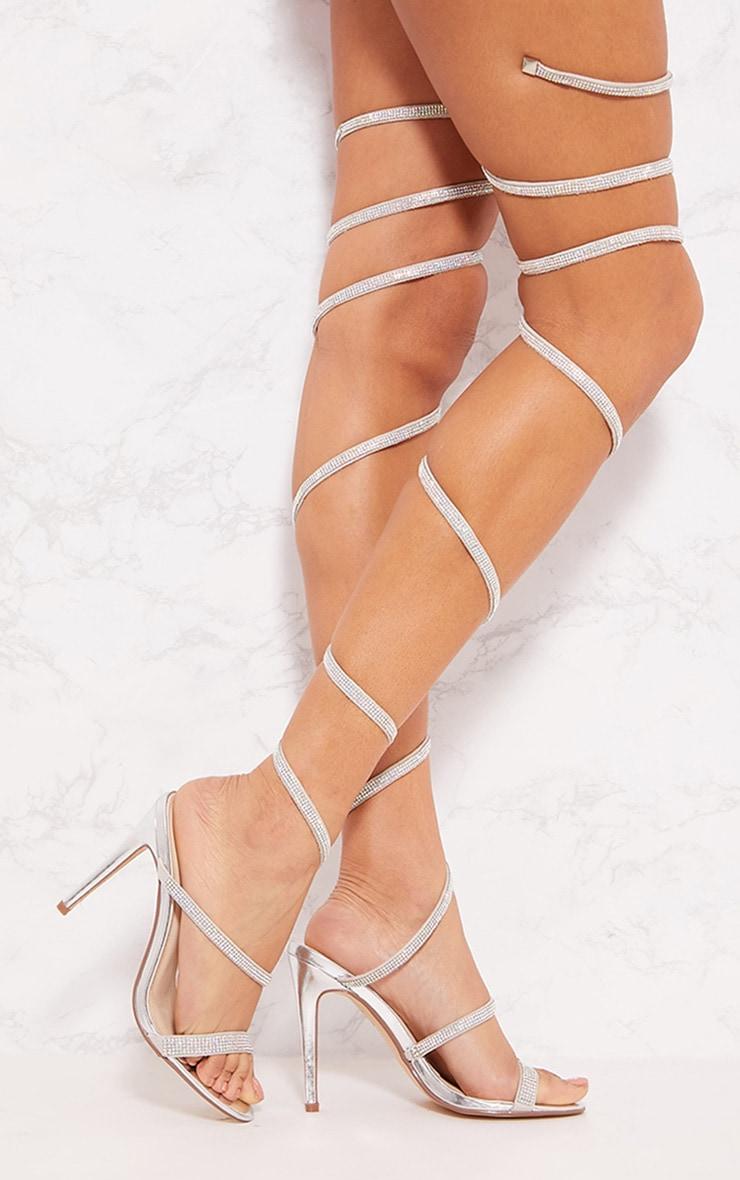 Sandales argentées à spirale montante