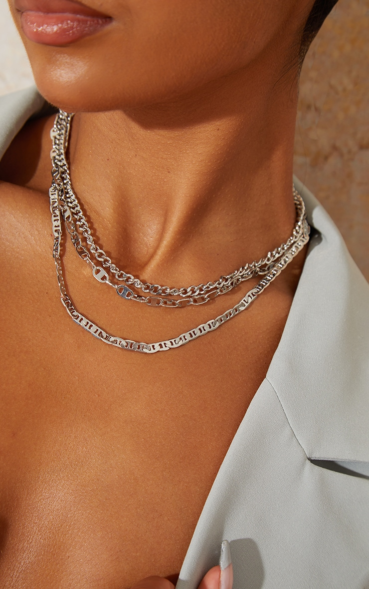Silver Assorted Three Chain Necklace 2