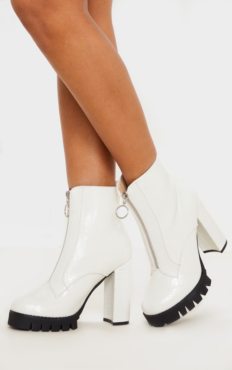 White Croc Extreme Block Heel Cleated Zip Front Ankle Boot 2