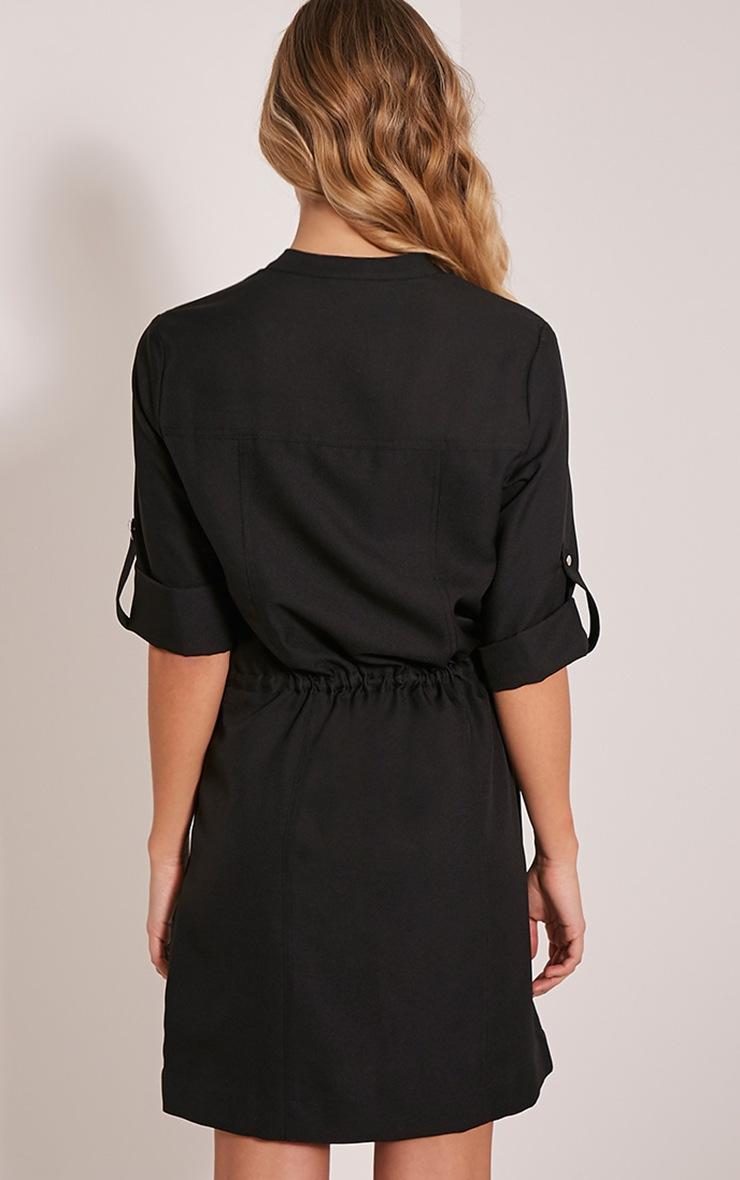 Teeya Black Collarless Shirt Dress 2