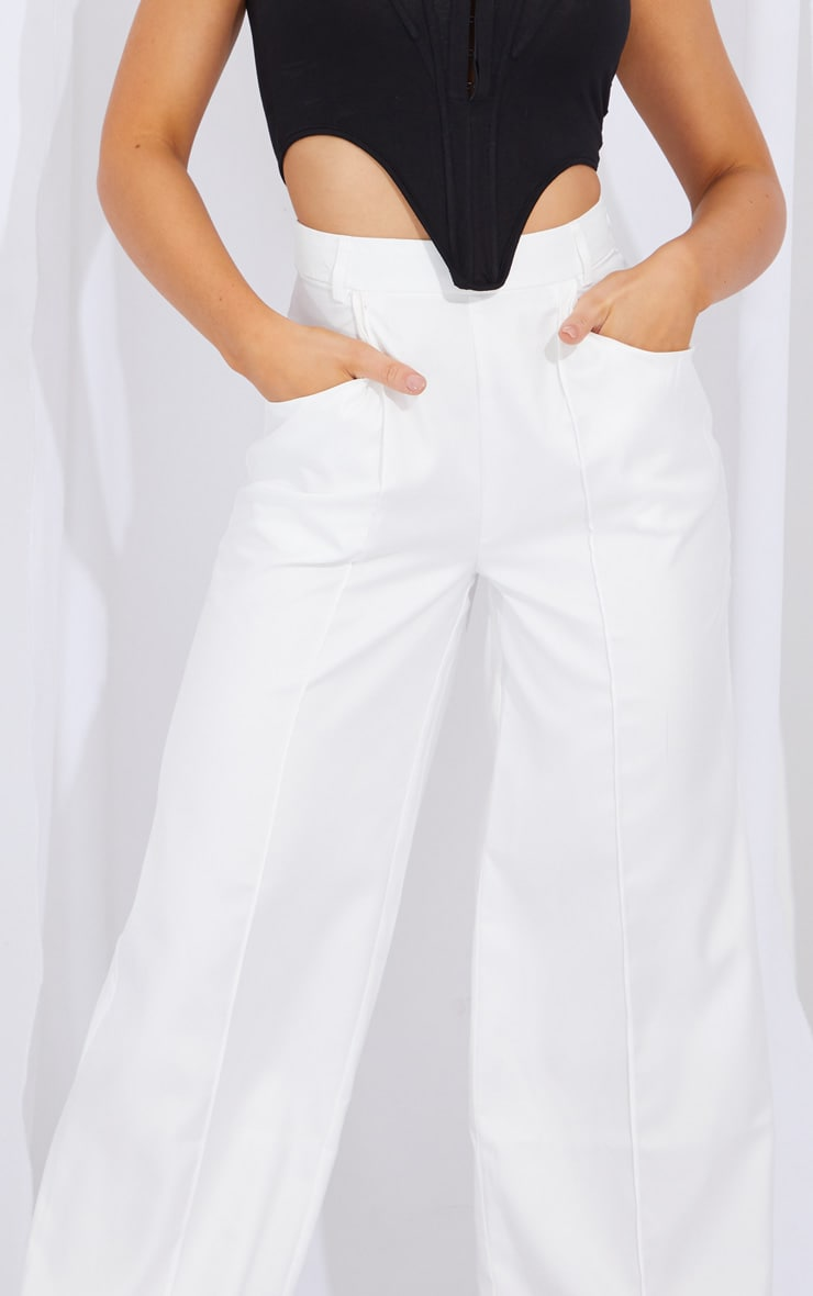 Cream Seam Detail Wide Leg Pants 4