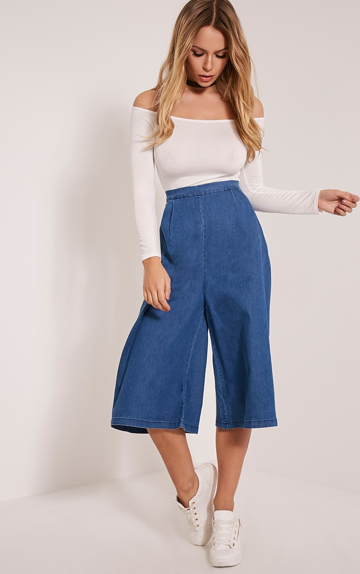 Mary Blue Denim Culottes 1