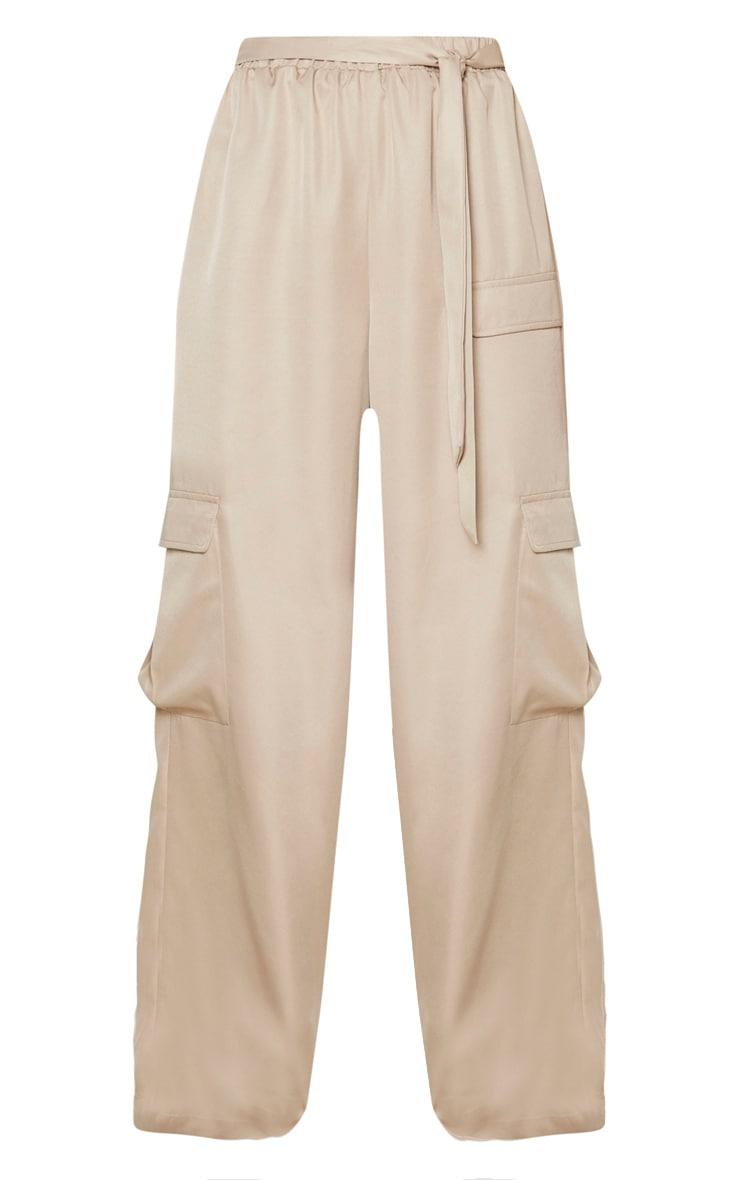 Stone Tie Waist Wide Leg Cargo Pants 3