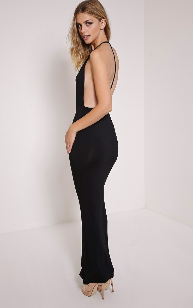 Basic Black T Bar Back Maxi Dress 1