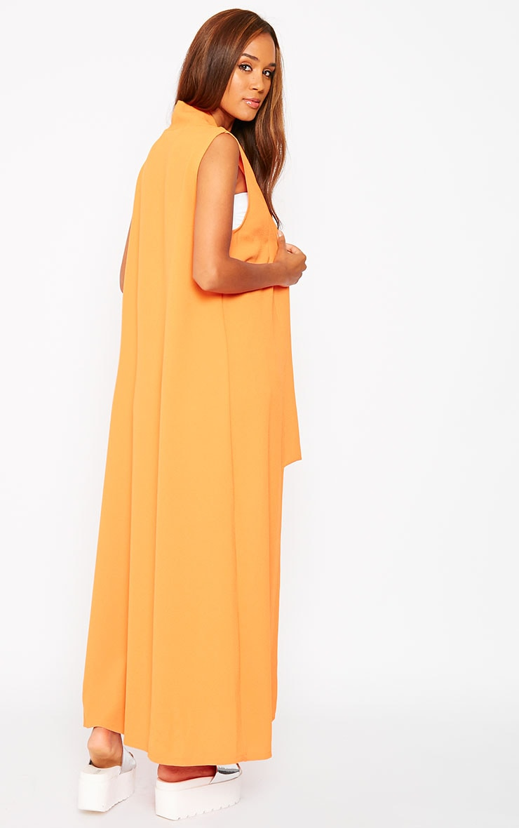 Georgena Orange Sleeveless Duster Coat 2
