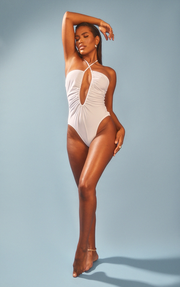 White Scoop Neck Ruched Swimsuit 3