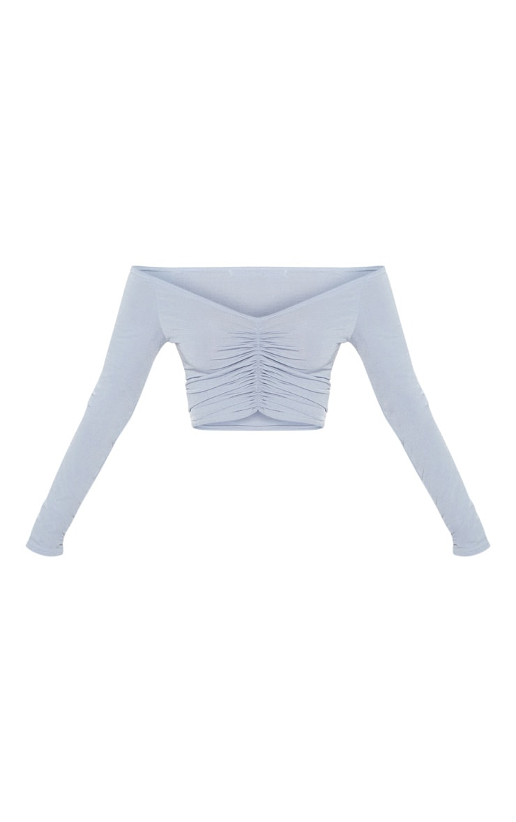 Powder Blue Slinky Ruched Front Long Sleeve Crop Top 4