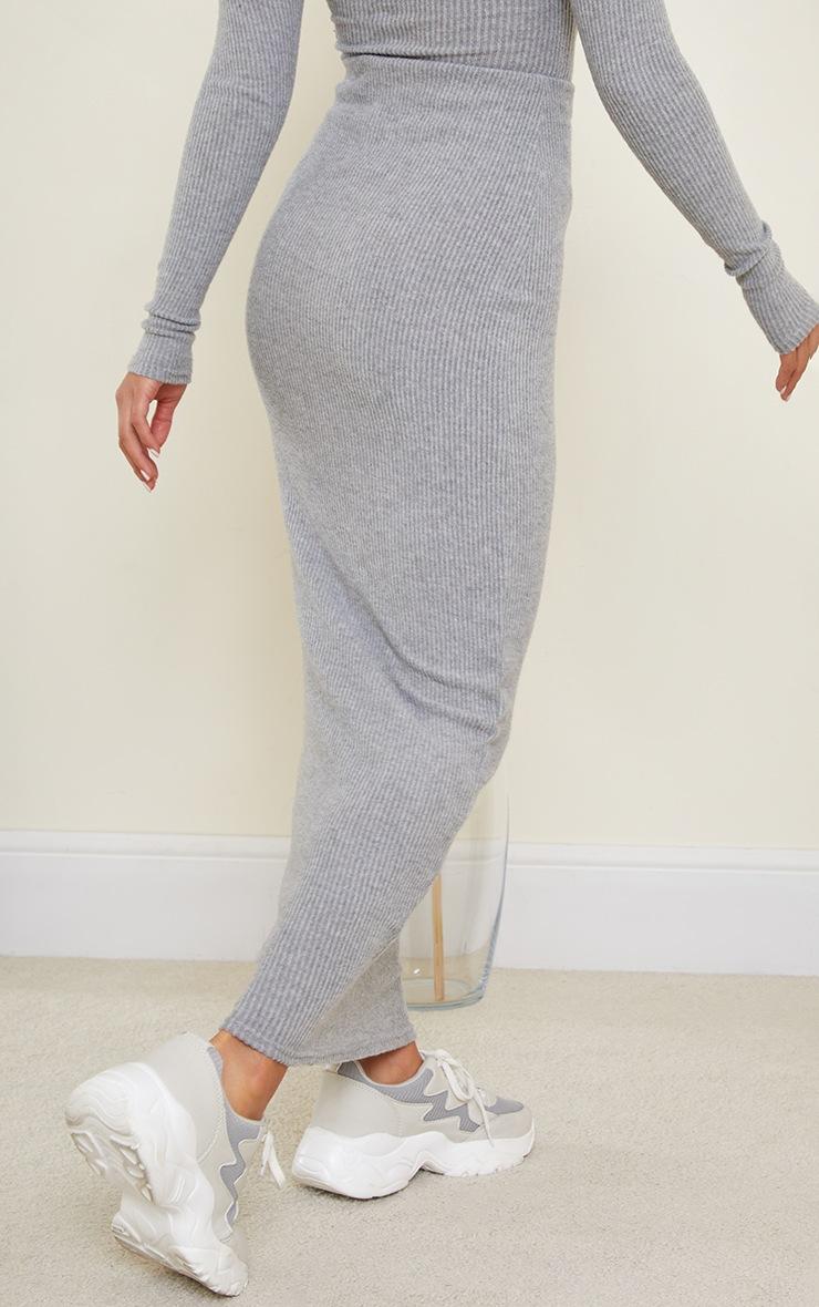 Petite Grey Brushed Rib Maxi Skirt 3