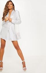 Silver Sequin Oversized Blazer Dress 6