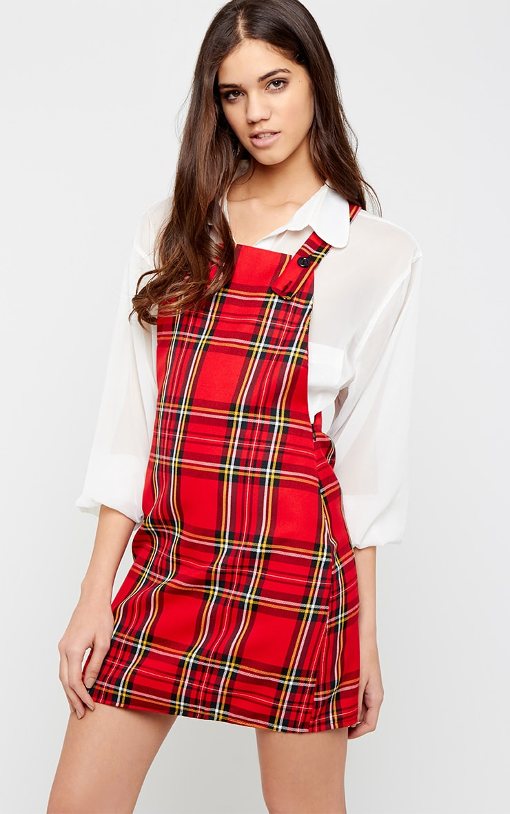 Ayana Red Tartan Pinafore Dress 1