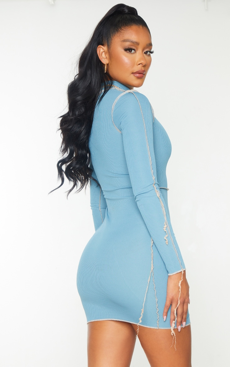 Mineral Blue Ribbed Overlock Stitch High Neck Long Sleeve Bodycon Dress 2