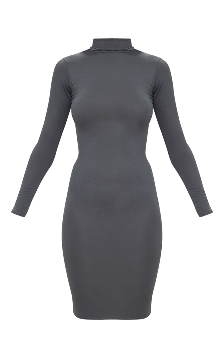 Basic Charcoal Grey Roll Neck Midi Dress 3