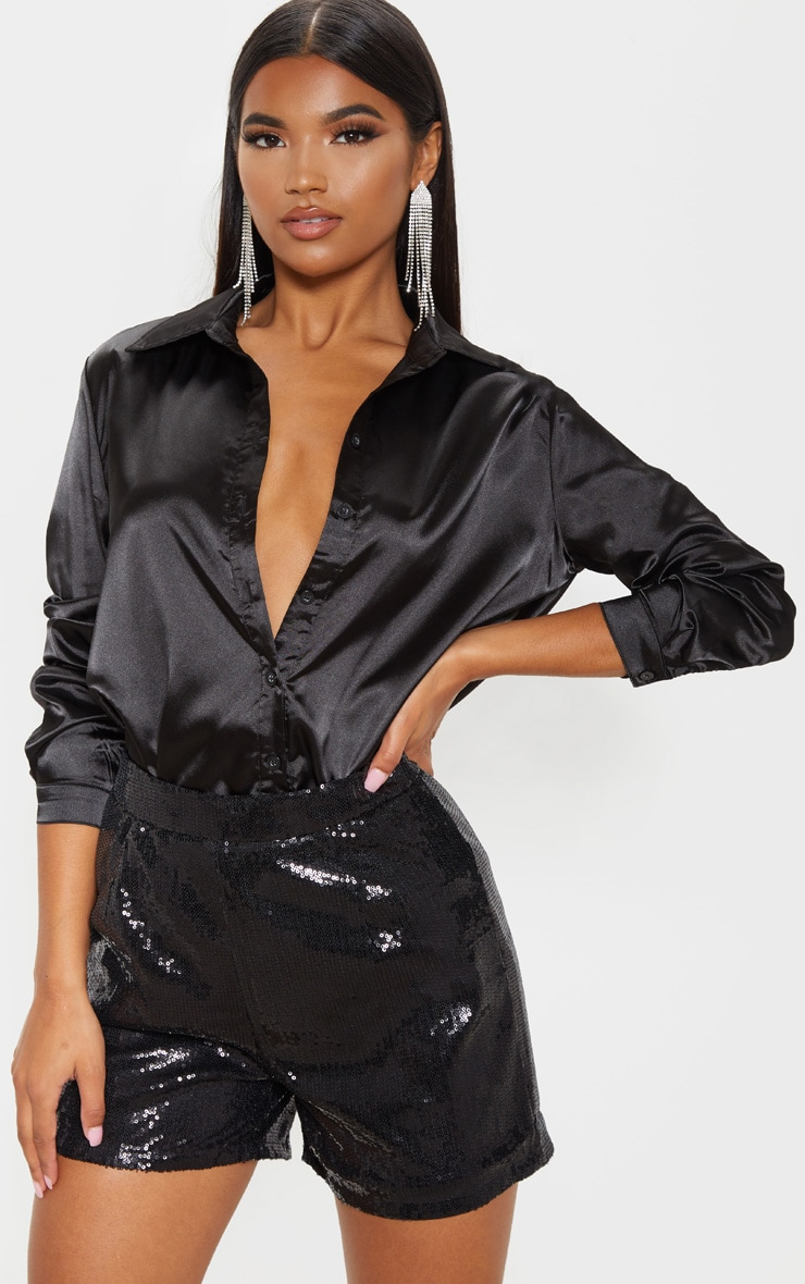 Black Sequin Formal Short  1