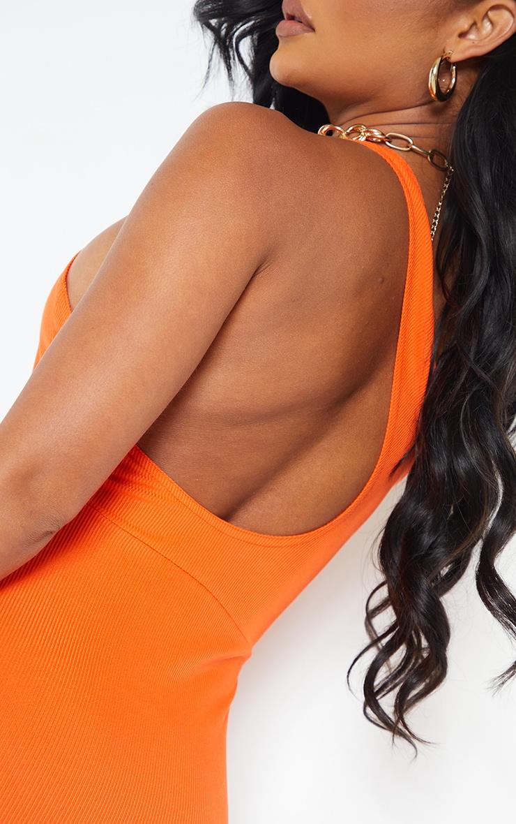Orange Ribbed One Shoulder Cut Out Back Detail Midi Dress 4