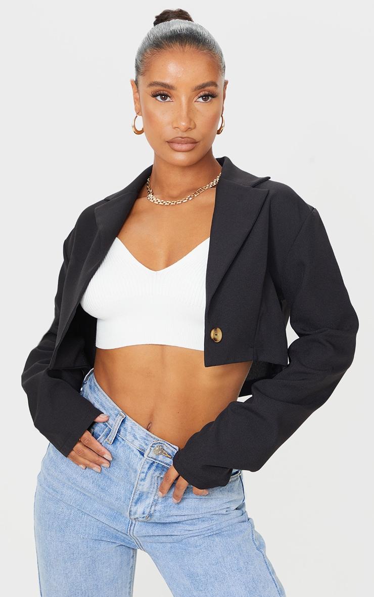 Black Woven Cropped Blazer 1