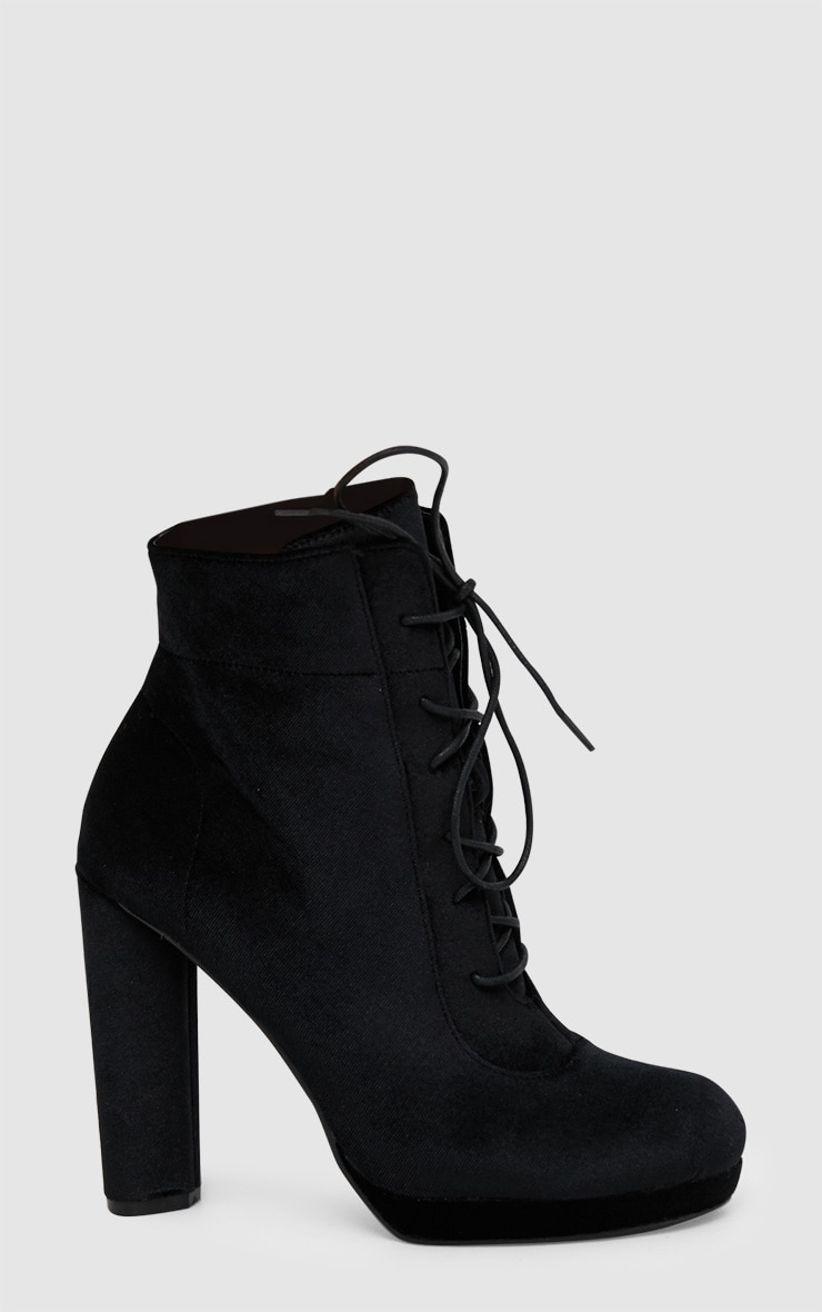 Black Velvet Lace Up Heeled Ankle Boot 3