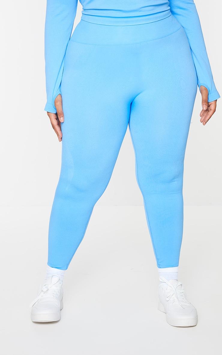Plus Bright Blue Basic Detail Seamless High Waist Gym Leggings 2