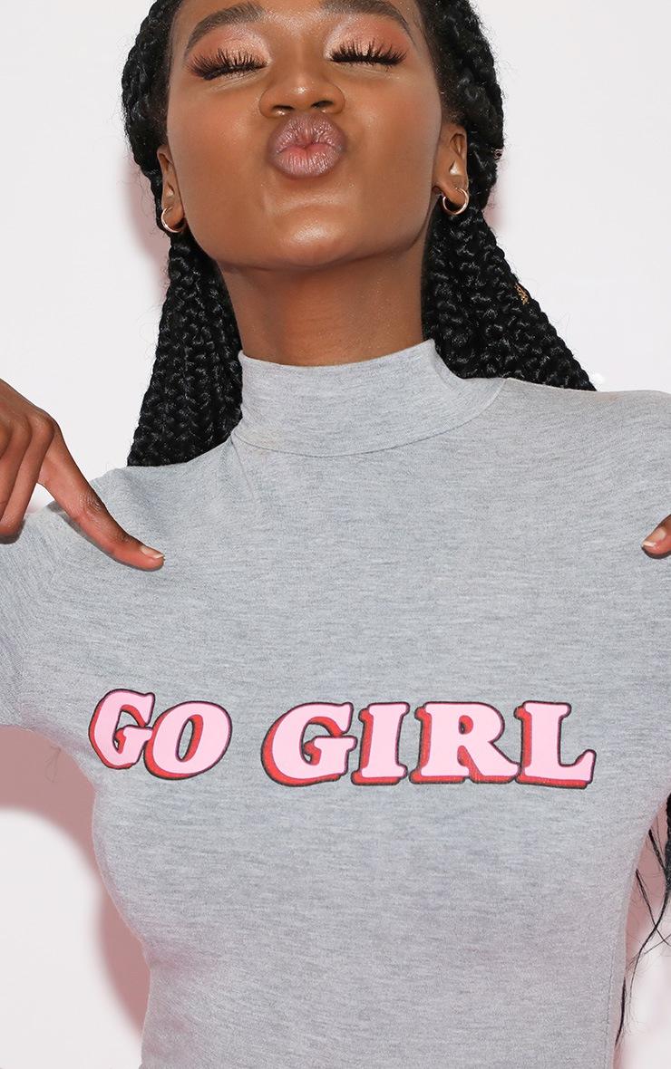 Go Girl High Neck Long Sleeve Bodysuit Grey 6