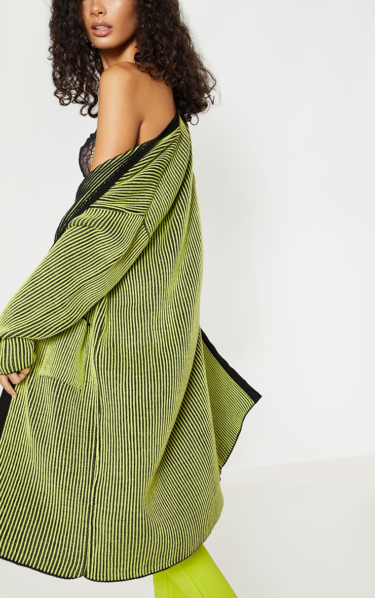 Lime Two Tone Knitted Cardigan  5