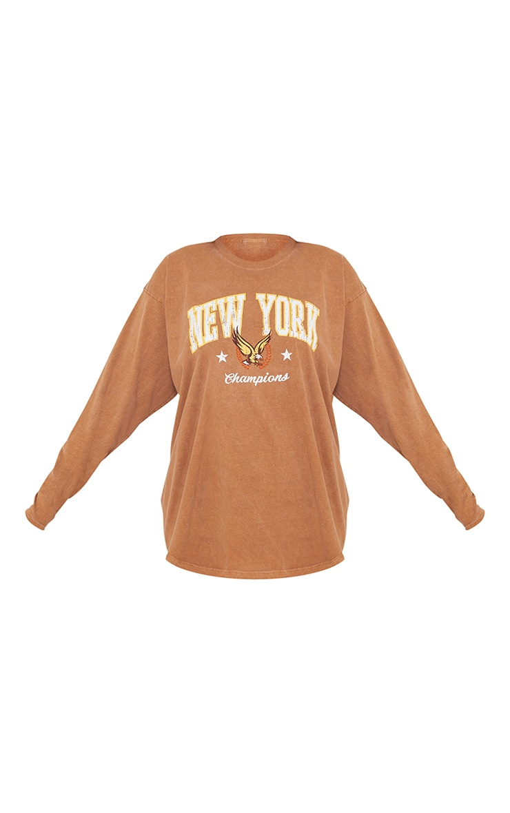 Rust New York Champion Washed Long Sleeve T Shirt 5