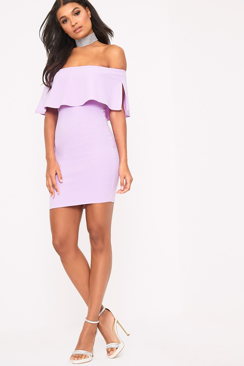 Carley Lilac Bardot Frill Bodycon Dress 4