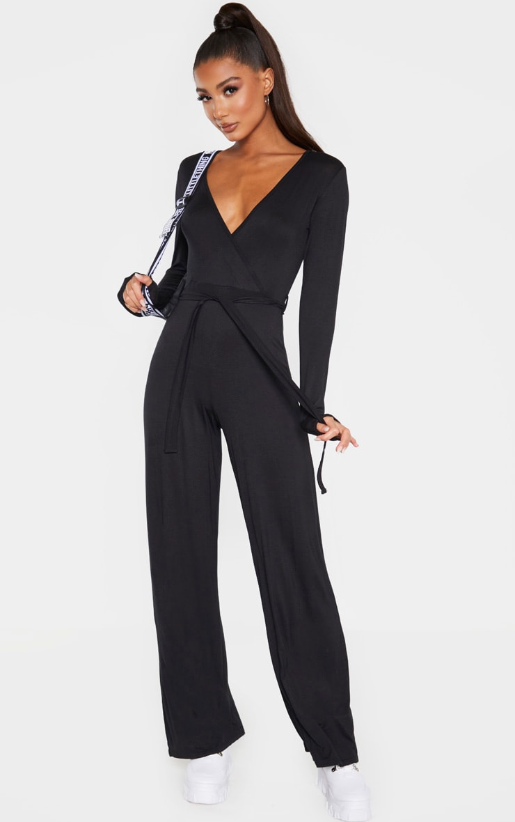 Black Tie Waist Long Sleeve Jumpsuit 4