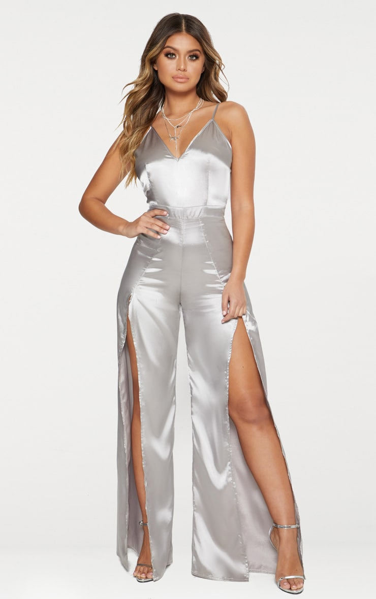 Grey Satin Spit Leg Jumpsuit 1