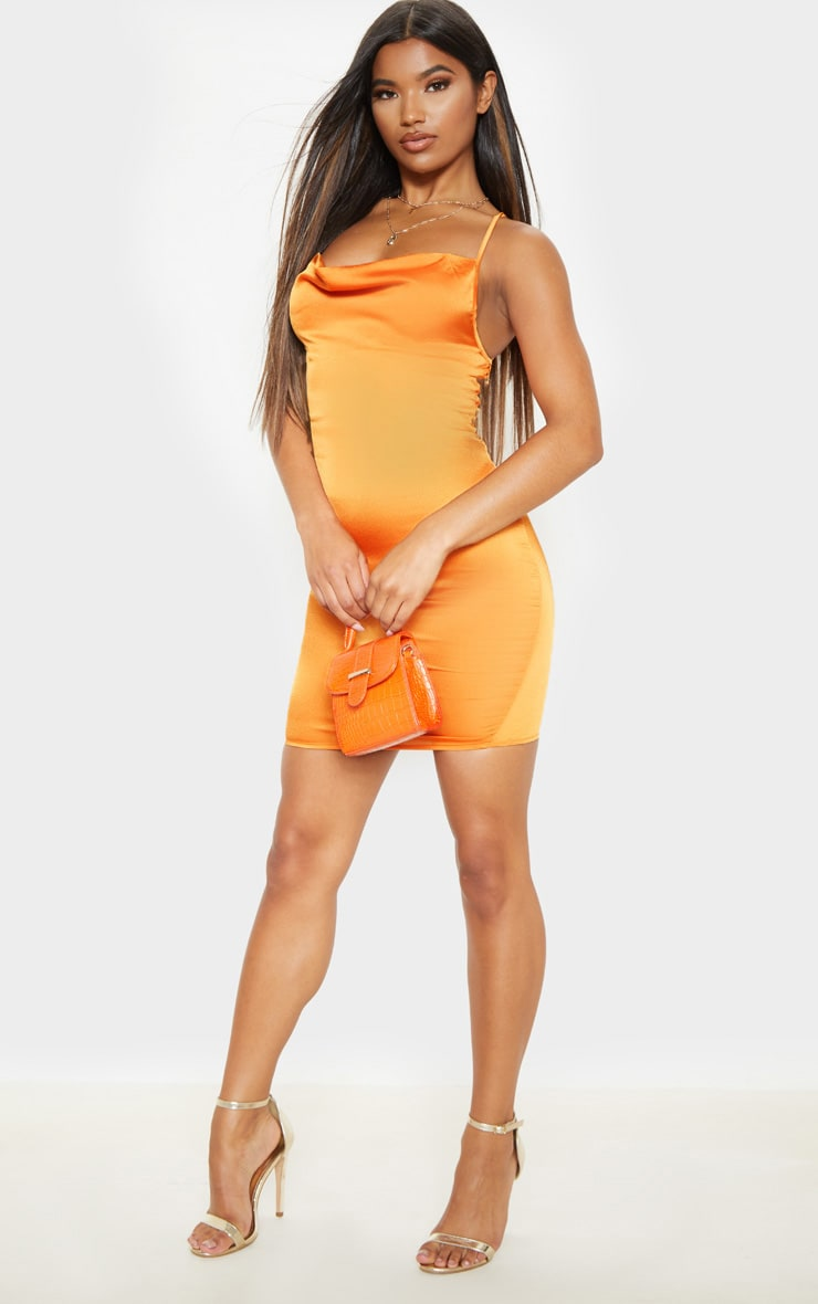 Golden Orange Satin Cowl Lace Up Bodycon Dress 4