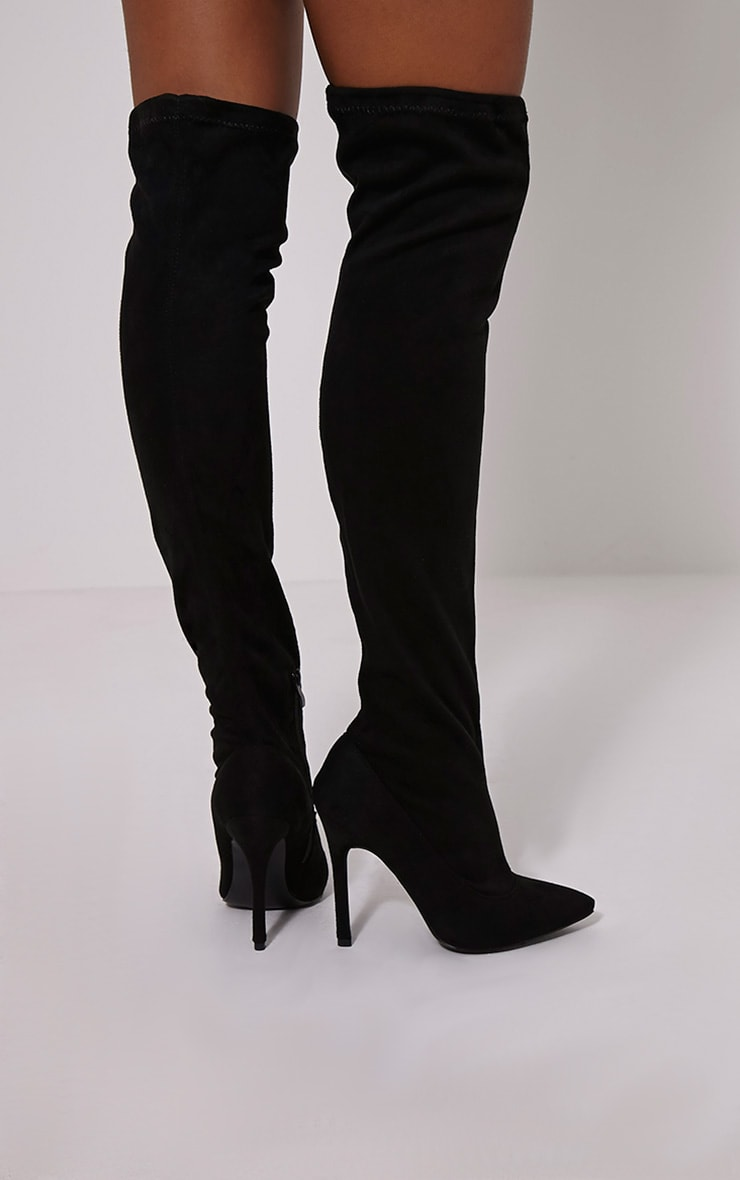Jezabel Black Faux Suede Thigh High Boots 2