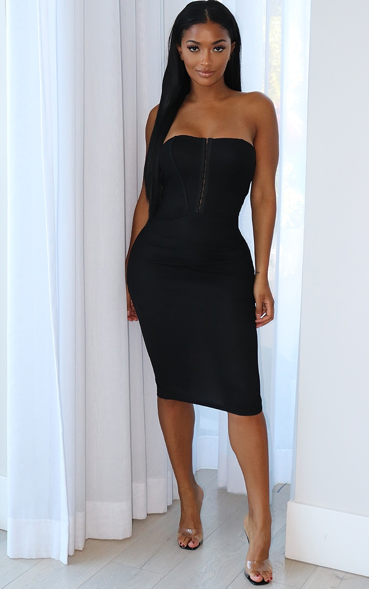 Shape Black Mesh Binding Detail Hook And Eye Midi Dress