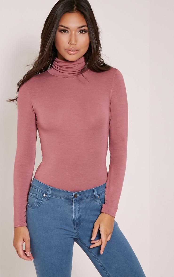 Basic Rose Long Sleeve Roll Neck Bodysuit 1