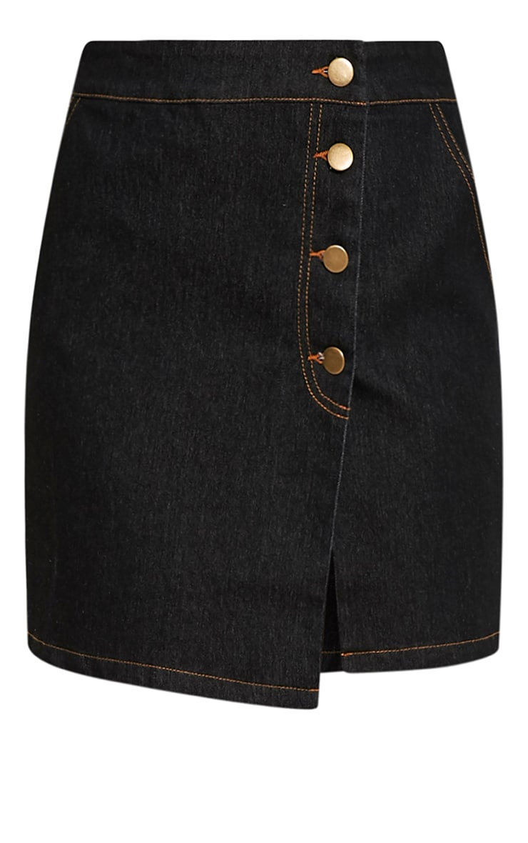 Ishani Black Button Down Denim Mini Skirt 3