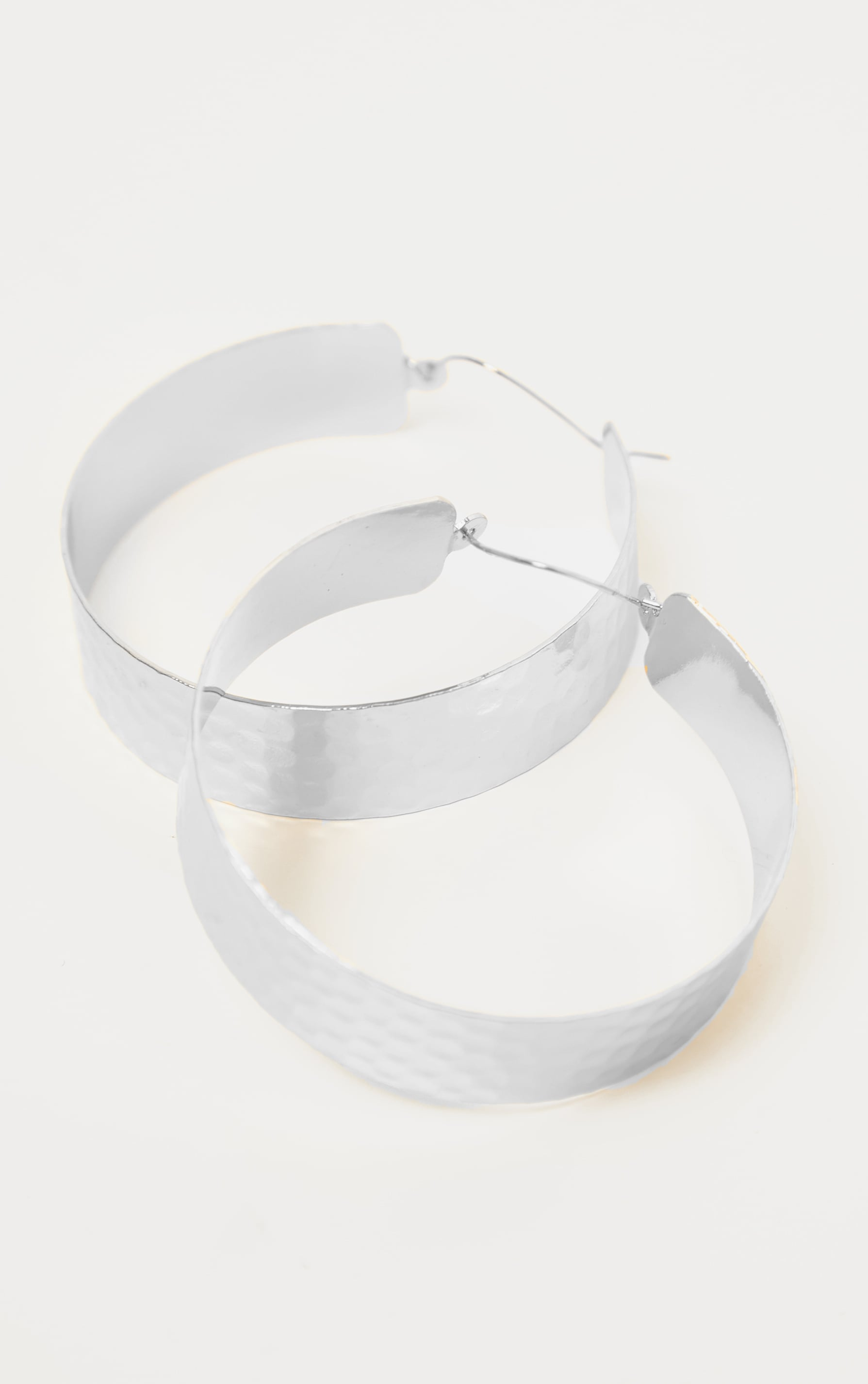Silver Textured Wide Flat Hoops 3