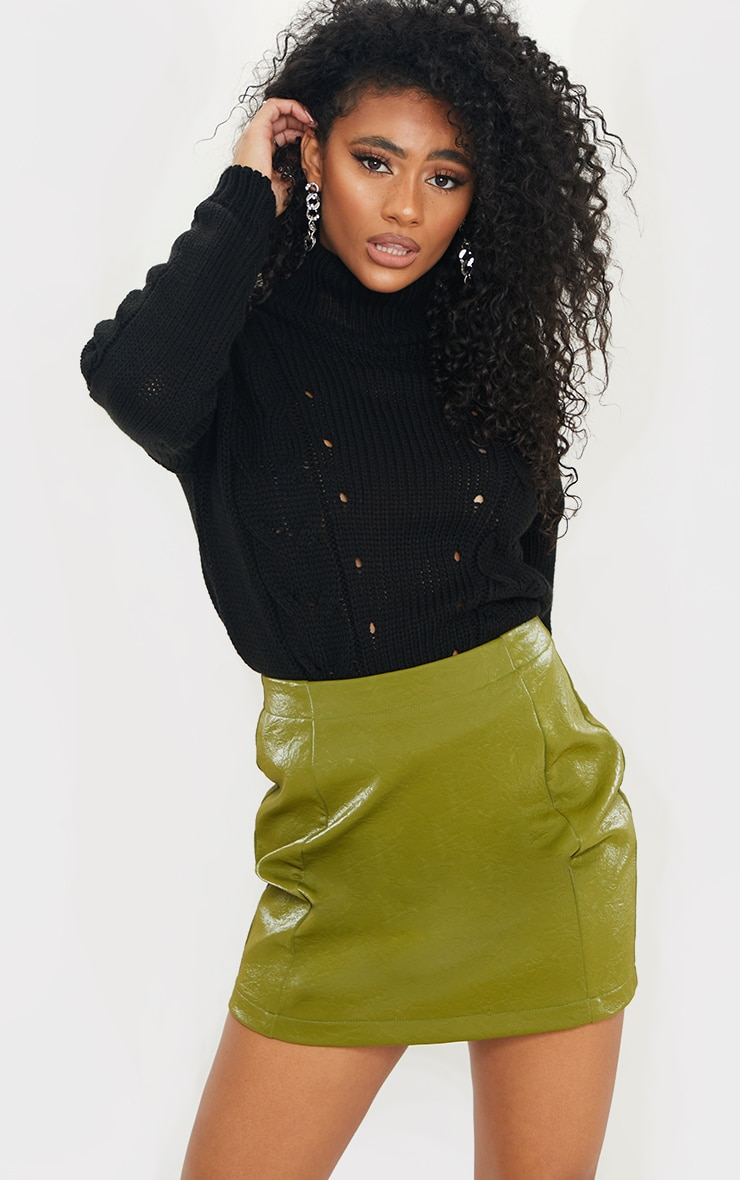 Olive Textured Faux Leather Mini Skirt 6