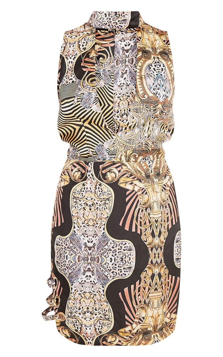 Bronagh Multi Print Satin Choker Neck Bodycon Dress 3
