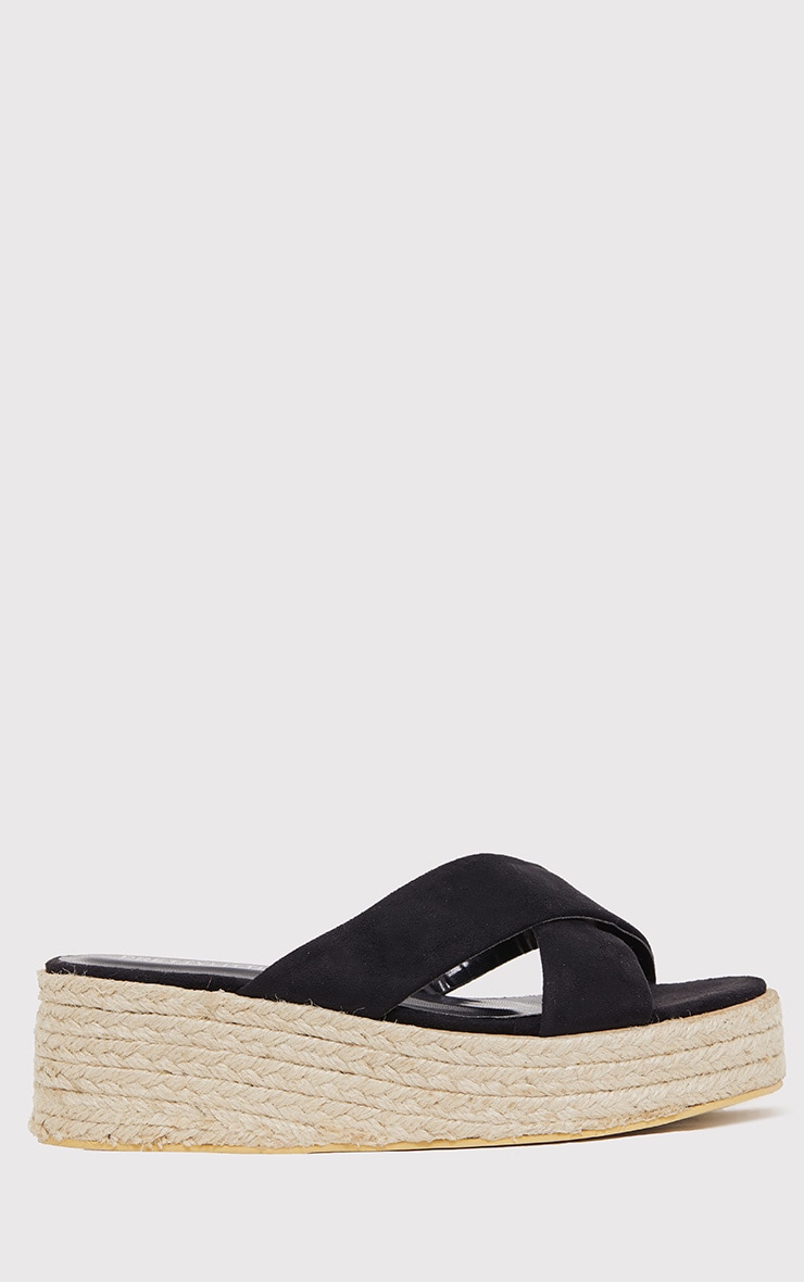 Liara Black Faux Suede Flatform Sliders 2