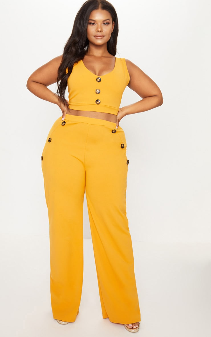 Plus Mustard Button Detail Wide Leg Pants 1
