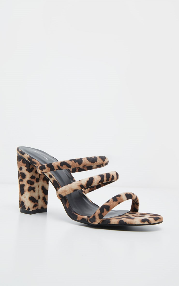 Leopard Triple Strap Mule Block Heel Sandal 4