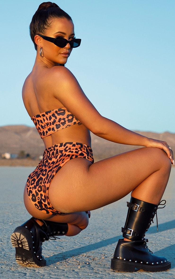 Orange Cheetah Print High Waisted High Leg Bikini Bottom 4