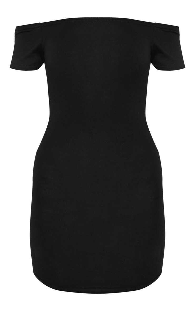 Basic Black Curve Hem Bardot Bodycon Dress 3