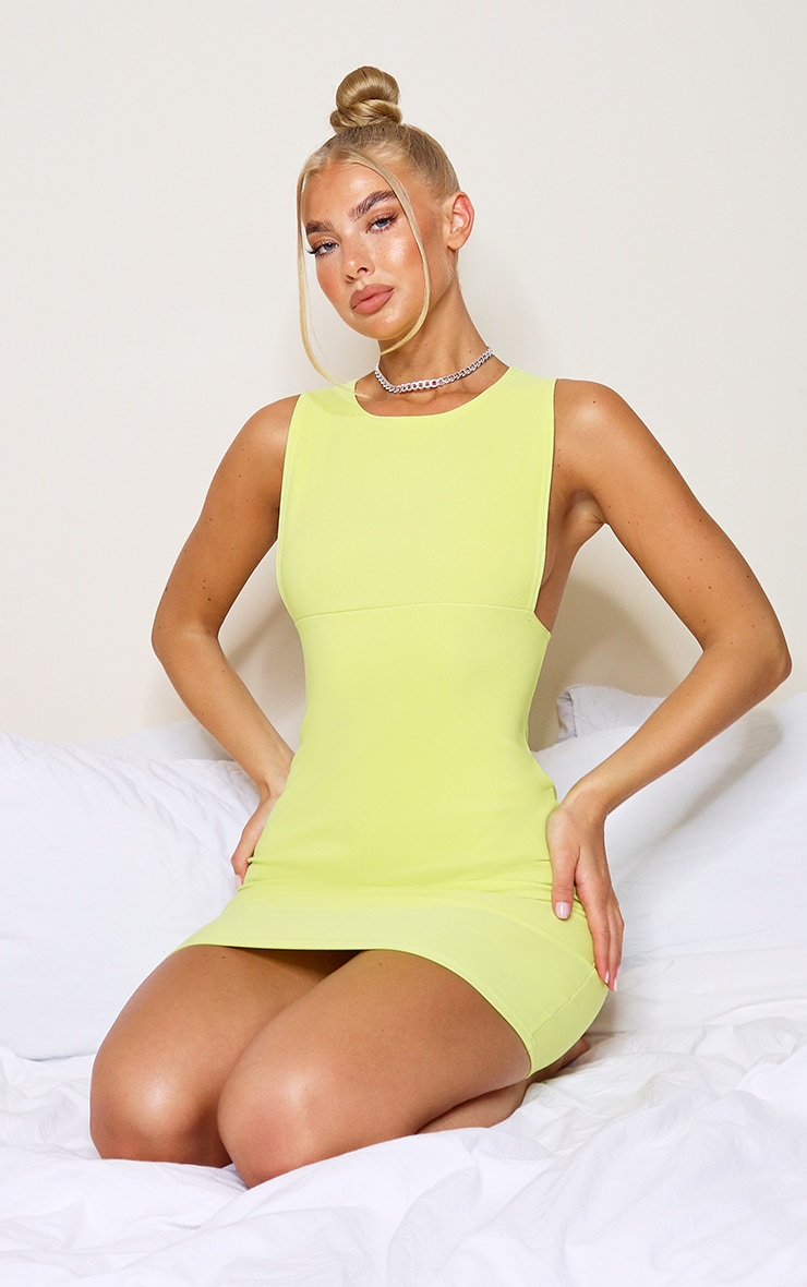 Lime Bandage Rib Crew Neck Low Armhole Bodycon Dress 1