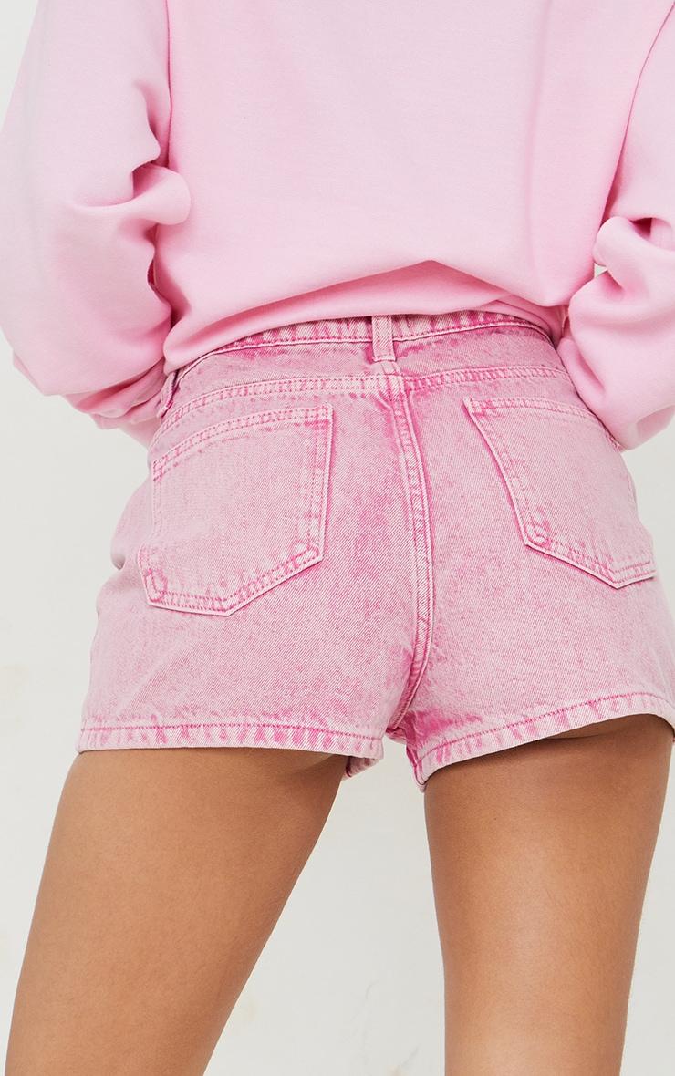 Pink Acid Seam Detail Denim Shorts 5